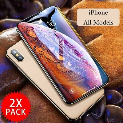 2X iPhone X XS Max XR 8 7 Plus Full Coverage Tempered Glass Screen Protector