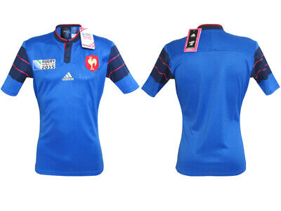 New Adidas T-Shirt France Rugby Union World Cup 2015 Home Jersey Sport Blue