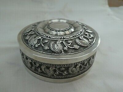 Very fine quality Asian silver circular lidded box 183g