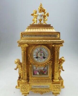 Rare Stunning Original French Mantel Clock Peeping Cherubs Figural Sevres Panel