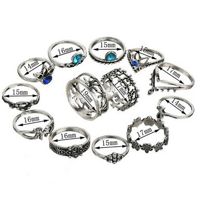 Bohemia Antique Silver Flower Pattern Carved Animal Rings  Crystal Ring Set