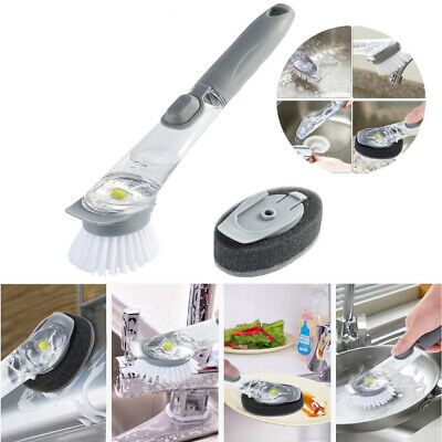Kitchen Cleaning Brush Scrubber Dish Washing with Refill Liquid Soap Dispenser