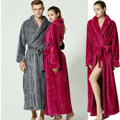 Womens Mens Luxury Thermal Coral Fleece Dressing Gowns Super soft Bath Robes