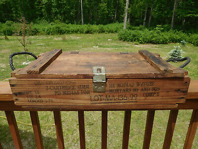 Vintage Cold War Era~U.s. Military Ammo For Cannon~81 Mm Mortar~Empty Wood Crate