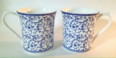 Queens Arabesque blue story China Cups Mugs Set Of 2 EXCELLENT