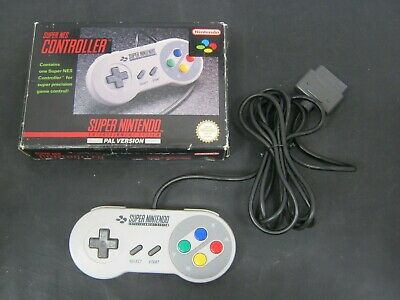 SNES Super Nintendo Grey Pal OFFICIAL CONTROLLER with Box