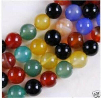 """6mm-12mm India Multicolor Agate Onyx Round Loose Beads Gemstones 15"""" AAA"""