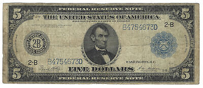 $5 1914 Federal Reserve Note New York Fr#851A
