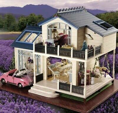DIY Handcraft Miniature Project Dolls House My Provence Lavender Wooden Villa GA