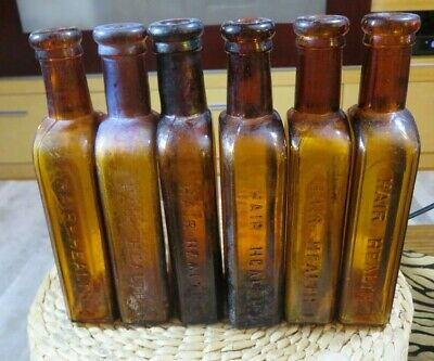 Set Of Six Amber Dr. Hay's Hair Health Antique Tonic Bottles