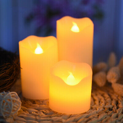 LED Flameless Flame Wax Mood Candles Flickering Decor Battery Operated Lights