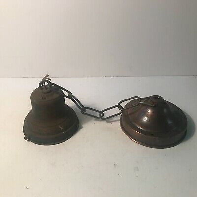 Antique authentic 1940s metal school house ceiling light fixture 4 inch fitter