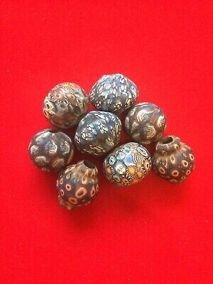 Set Of 8 Phoenician Mixed Shape Beads Unusual Items Of Historical Jewellery.