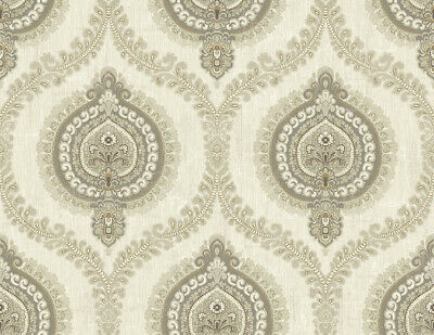 Medallion Ogee Wallpaper in Warm Silver IM71205 from Wallquest