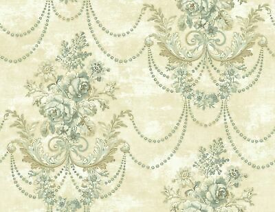 Draped Bouquet Wallpaper in Antique Blue RD81102 from Wallquest