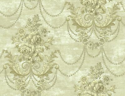 Draped Bouquet Wallpaper in Antique Gold RD81107 from Wallquest