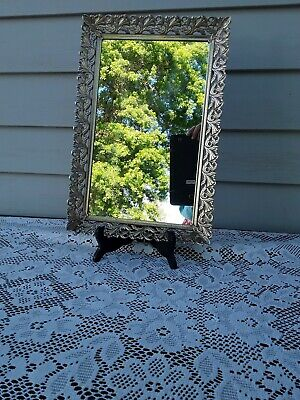 Vtg Vanity Dresser Mirror Tray Ornate Filigree Rectangle Gold Metal w/ Legs