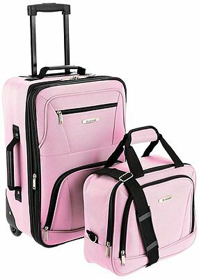 New Rockland 2 Piece Carry On Rolling Travel Bag Luggage Set, Pink