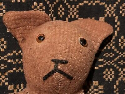 Antique Primitive Vintage Folk Art Depression Era Toy Cloth Stuffed Bear AAFA