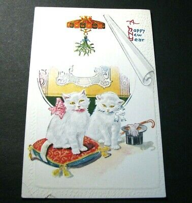 Old Postcards A Happy New Year. Two Cute Kitty Cats.   -Christmas Greeting PB4