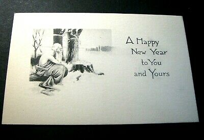 Old Postcards Happy New Year.  Old Man Pondering    -Christmas Greeting PB4