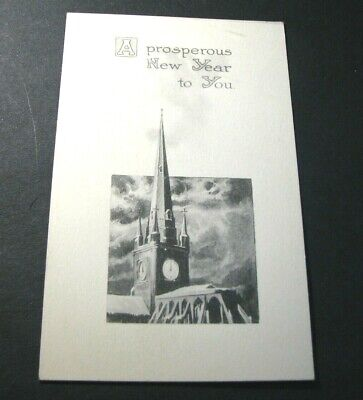 Old Postcards Happy New Year.  Church Steeple.    -Christmas Greeting PB4