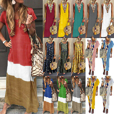 Women Boho Long Shirt Vest Dress Summer Casual Loose Kaftan Maxi Dress Sundress