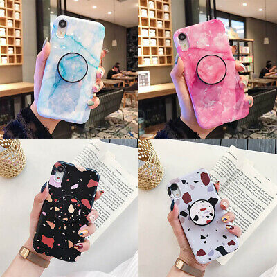 For iPhone XS Max XR 6s 7 8 Plus X Slim Marble Stand Holder Soft TPU Case Cover