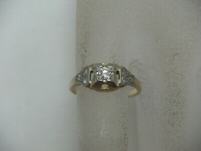 ART DECO 14K Yellow Gold Diamond Engagement Ring .16 TCW Size 5.25