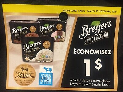 Lot of 20 x 1.00$ Breyers Products Coupons Canada
