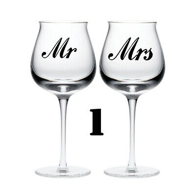 MR & MRS wedding sticker glass love. quality vinyl decal quotes
