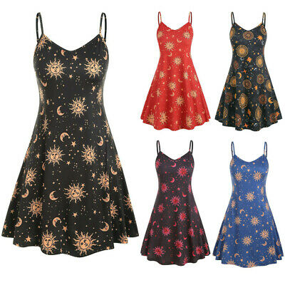 New Plus Size Summer Women Casual Print O-Neck Sleeveless Sling Party Sundress