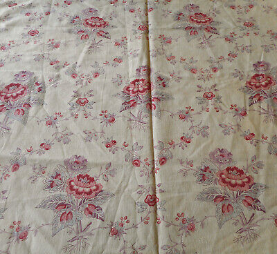 Antique French Shabby Cottage Floral Roses Cotton Fabric ~Red Pink Lavender Blue