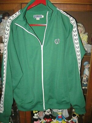 124eb95ea72a2e Vintage PERFECT Fred Perry Taped Track Top - Taped Jacket - Green Size L  Logo