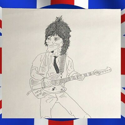 The Who's John Entwistle Full Size Artist Strike Off Copy of Ronnie Wood w/COA