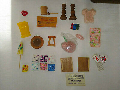 Mixed Lot Vintage Dollhouse Miniature Items Mirror Rolling Pin Book Pillow Brick