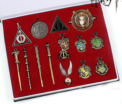 15 pcs Harry Potter Hermione Magic Wand badge Pendant Box Gift Collect Cosplay