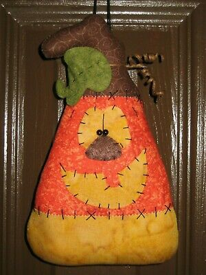 Primitive Hc Halloween Pumpkin Candy Corn Doll Shelf Sitter Ornie Bowl Filler
