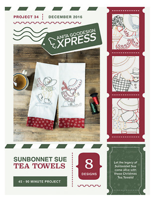 Sunbonnet Sue Tea Towels. Anita Goodesign Express. Project 34. New.