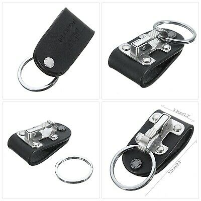 Quick Release Belt Clip Ring Holder Detachable Stainless Steel Black Leather Key