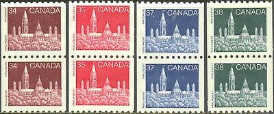 1985-9 Canada #952-3 & 1194-94a Mint Never Hinged Parliament Coil Pairs