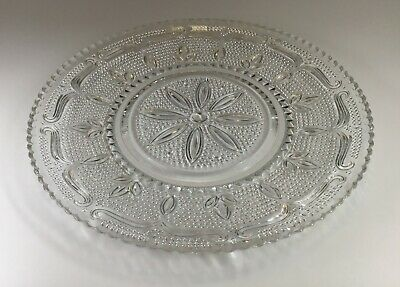 Federal Glass Heritage Pattern Crystal Platter Hobnob Flower and Leaves