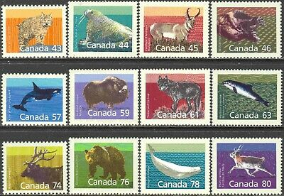 1988-90 Canada #1170-80 Cpl. Mint Never Hinged Set of 12 Mammals