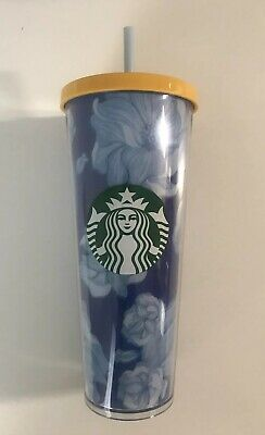 NEW 2019 STARBUCKS COLD CUP FLORAL BLUE WHITE YELLOW TUMBLER 24 fl