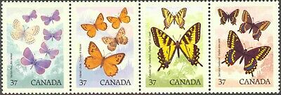 1988 Canada #1213a Complete Mint Never Hinged Strip of 4 Butterflies