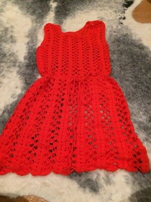 Vintage Bright Red Crochet Dress Very Small