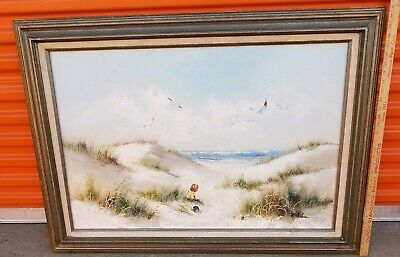 Vintage Painting Oil On Canvas Boy On Beach Scene Signed H.Gibson 40x32in