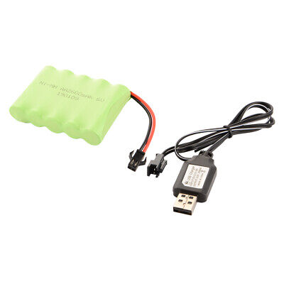 Ni-MH 6V 2600mAh Rechargeable AA Cell Battery+USB Charger for RC Car Toys BC822
