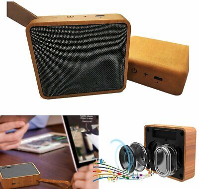Mini Wooden Bluetooth Speaker Wireless Subwoofer Bass Sound Box Touch Control