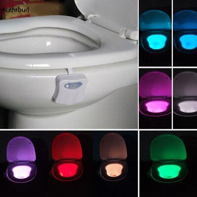 Toilet Bowl Light Motion Activated LED 8 Color Auto Bathroom Kids Night Lamp M5D